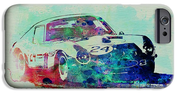 Automotive Drawings iPhone Cases - Ferrari 250 GTB Racing iPhone Case by Naxart Studio