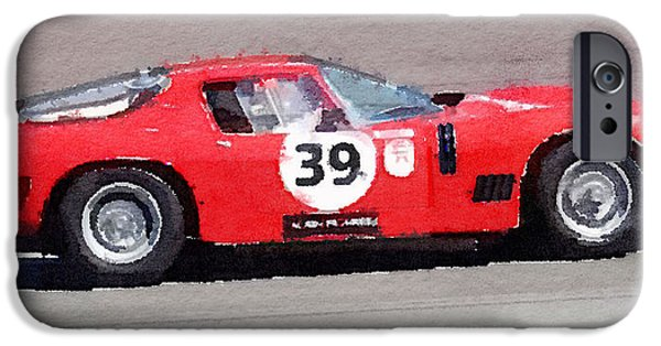 Old Cars iPhone Cases - Ferrari 250 GTB SWB Bizzarrini Watercolor iPhone Case by Naxart Studio