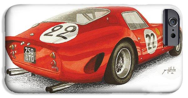 Ferrari 250 Gto iPhone Cases - Ferrari 250 GTO iPhone Case by Joao Saldanha
