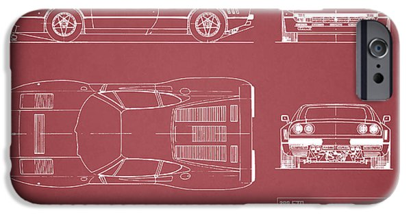 Ferrari Gto iPhone Cases - Ferrari 288 GTO Blueprint - Red iPhone Case by Mark Rogan
