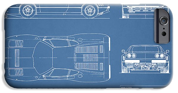 Ferrari Gto iPhone Cases - Ferrari 288 GTO Blueprint iPhone Case by Mark Rogan