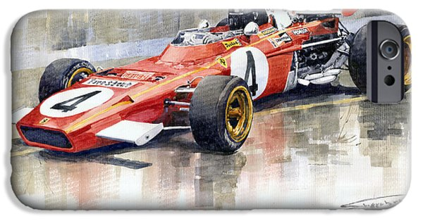 Ferrari Watercolor iPhone Cases - Ferrari 312 B2 1971 Monaco GP F1 Jacky Ickx iPhone Case by Yuriy  Shevchuk