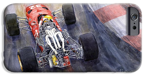 Classic Racing Car iPhone Cases - Ferrari 312 F1 1967 iPhone Case by Yuriy Shevchuk