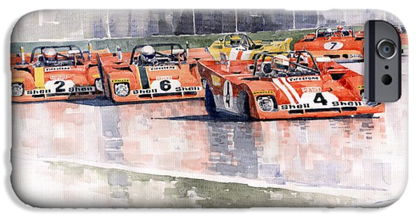Ferrari Watercolor iPhone Cases - Ferrari 312 PB Daytona 6 Hours 1972 iPhone Case by Yuriy  Shevchuk