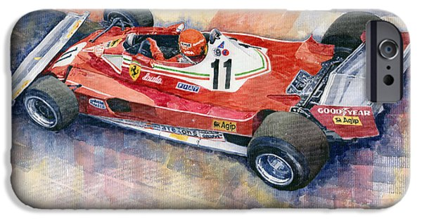 Ferrari Watercolor iPhone Cases - Ferrari 312 T2 Niki Lauda 1977 Monaco GP iPhone Case by Yuriy  Shevchuk