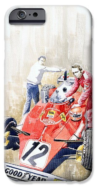 Automotive iPhone Cases - Ferrari 312T Monaco GP 1975 Niki Lauda winner iPhone Case by Yuriy  Shevchuk