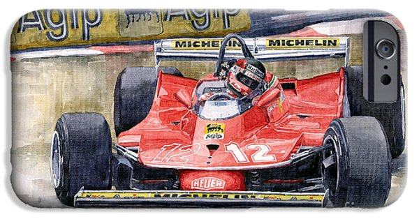 Ferrari Watercolor iPhone Cases - Ferrari  312T4 Gilles Villeneuve Monaco GP 1979 iPhone Case by Yuriy Shevchuk