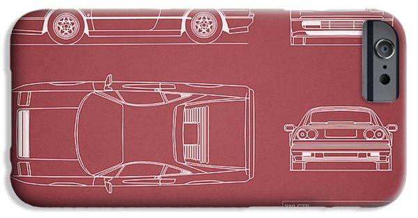 Ferrari iPhone Cases - Ferrari 328 GTB Blueprint - Red iPhone Case by Mark Rogan