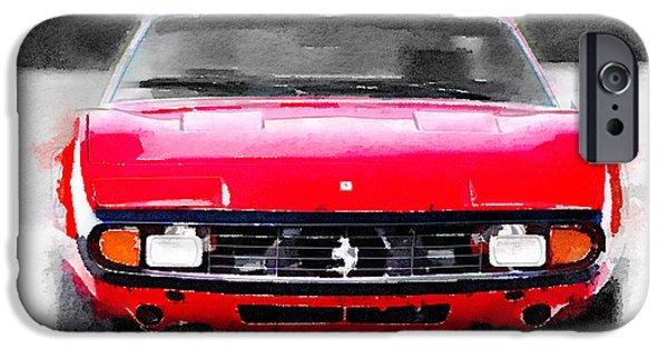 European Cars Mixed Media iPhone Cases - Ferrari 365 GTC4 Front Watercolor iPhone Case by Naxart Studio