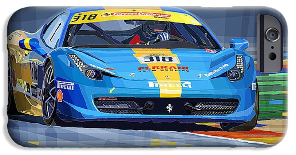 Automotive Mixed Media iPhone Cases - Ferrari 458 Challenge Team Ukraine 2012 iPhone Case by Yuriy  Shevchuk