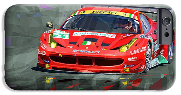 Racing iPhone Cases - Ferrari 458 GTC AF Corse iPhone Case by Yuriy  Shevchuk
