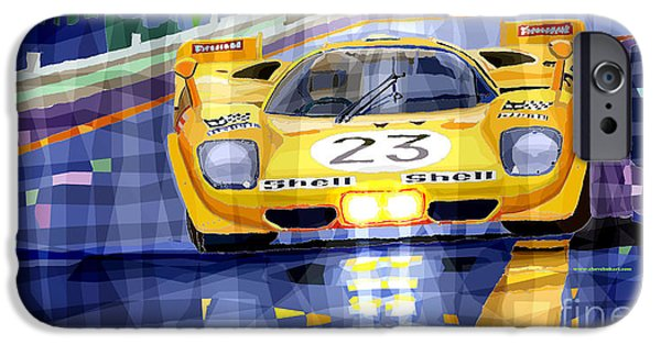 Racing Mixed Media iPhone Cases - Ferrari 512 S SPA 1970 Derek Bell  iPhone Case by Yuriy  Shevchuk