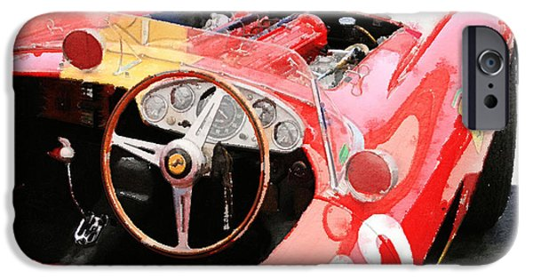 Racing Mixed Media iPhone Cases - Ferrari Cockpit Monterey Watercolor iPhone Case by Naxart Studio