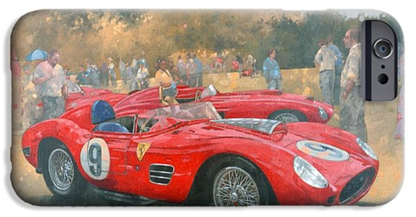 Racetrack iPhone Cases - Ferrari, Day Out At Meadow Brook Oil On Canvas iPhone Case by Peter Miller
