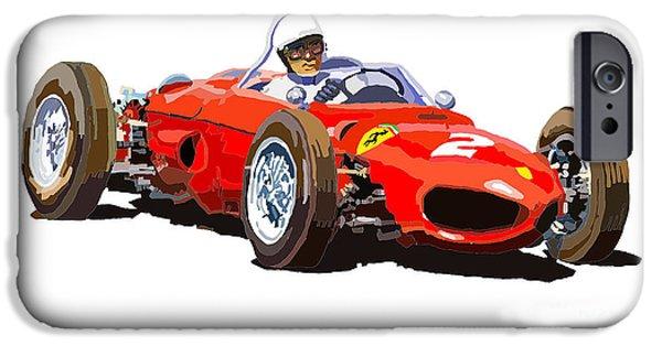 Racing Sport Cars iPhone Cases - Ferrari Dino 156 1962  iPhone Case by Yuriy  Shevchuk