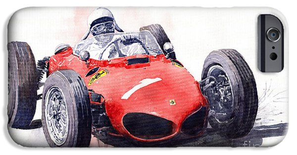 Sport Cars iPhone Cases - Ferrari Dino 156 F1 1961  iPhone Case by Yuriy  Shevchuk