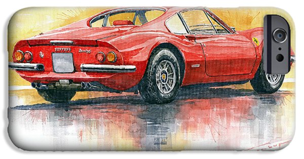 Ferrari Watercolor iPhone Cases - Ferrari Dino 246 iPhone Case by Yuriy Shevchuk
