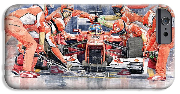 Racing Paintings iPhone Cases - Ferrari F 2012 Fernando Alonso Pit Stop iPhone Case by Yuriy  Shevchuk