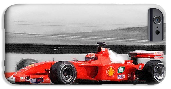 Vintage Car iPhone Cases - Ferrari F1 Laguna Seca Watercolor iPhone Case by Naxart Studio