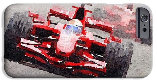 Formula Car iPhone Cases - Ferrari F1 Race Watercolor iPhone Case by Naxart Studio