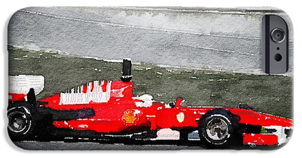 Old Cars iPhone Cases - Ferrari F1 Racing Watercolor iPhone Case by Naxart Studio