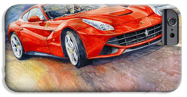 Ferrari Watercolor iPhone Cases - Ferrari F12 Berlinetta 2014 iPhone Case by Yuriy Shevchuk
