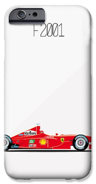 Circuit iPhone Cases - Ferrari F2001 Formula 1 iPhone Case by Florian Rodarte