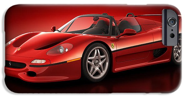 Old Cars iPhone Cases - Ferrari F50 - Flare iPhone Case by Marc Orphanos