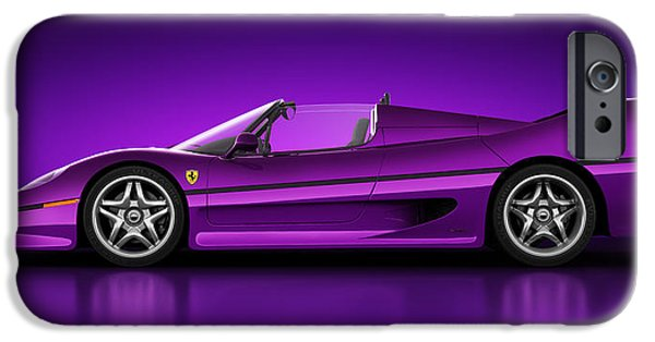 Old Cars iPhone Cases - Ferrari F50 - Neon iPhone Case by Marc Orphanos