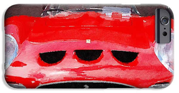 Ferrari Gto iPhone Cases - Ferrari Front End Monterey Watercolor iPhone Case by Naxart Studio