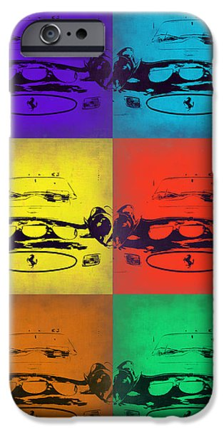Vintage Car iPhone Cases - Ferrari Front Pop Art 5 iPhone Case by Naxart Studio