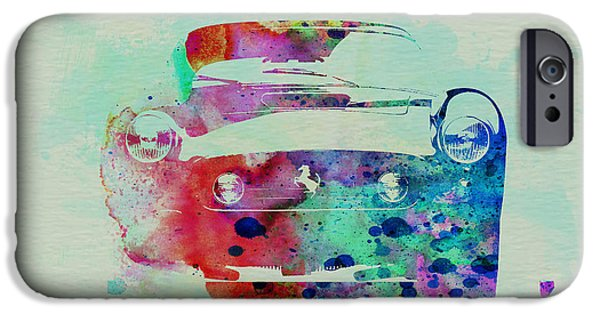 Ferrari Watercolor iPhone Cases - Ferrari Front Watercolor iPhone Case by Naxart Studio