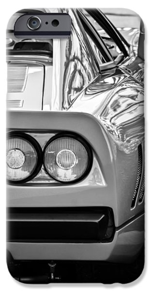 Ferrari Gto iPhone Cases - Ferrari GTO 288 Taillight -0631bw iPhone Case by Jill Reger