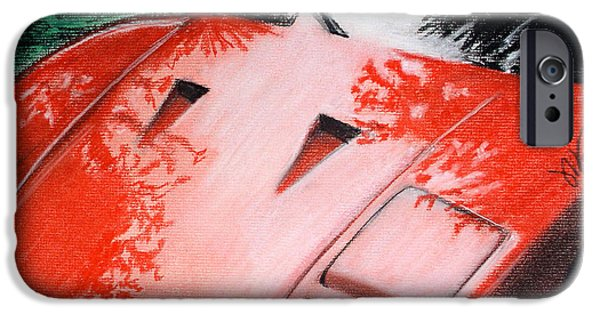 Automotive Pastels iPhone Cases - Ferrari In Red iPhone Case by Michael Foltz