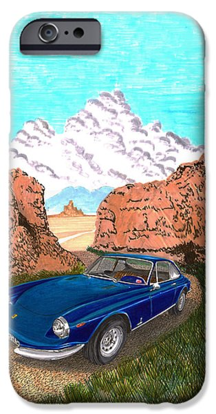 Santa Drawings iPhone Cases - 1969 Ferrari 365 G T C in the Mountains 1969 365 G T C iPhone Case by Jack Pumphrey