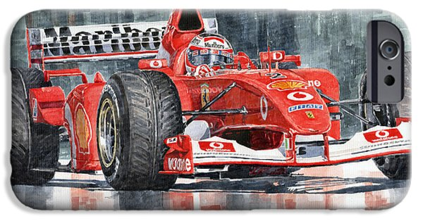 Rubens iPhone Cases - Ferrari Marlboro F 2002 Ferrari 051 Rubens Borrichello iPhone Case by Yuriy  Shevchuk