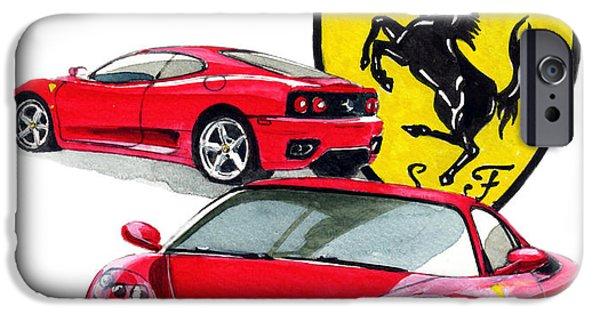Ferrari Paintings iPhone Cases - Ferrari Modena 360 iPhone Case by Yoshiharu Miyakawa
