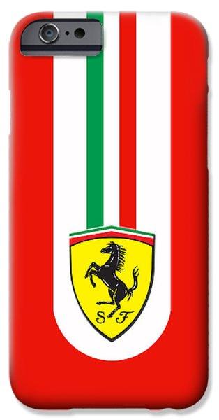 Vintage Car Photographs iPhone Cases - Ferrari Phone Case iPhone Case by Mark Rogan
