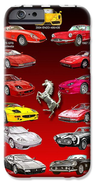 Pen And Ink Framed Prints iPhone Cases - Ferrari Poster Art iPhone Case by Jack Pumphrey