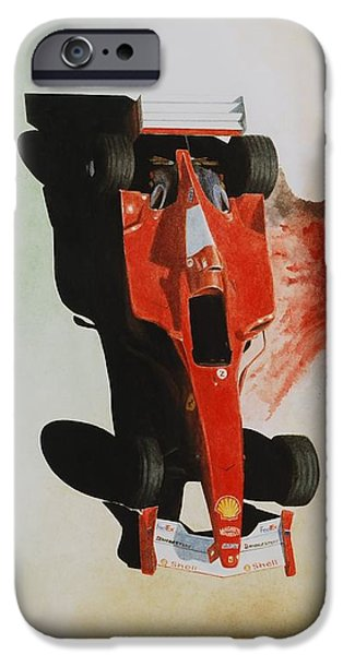 Michael Schumacher iPhone Cases - Ferrari Schumacher Something iPhone Case by Oleg Konin