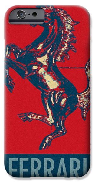 Caricature Posters iPhone Cases - FERRARI STALLION in HOPE iPhone Case by Rob Hans