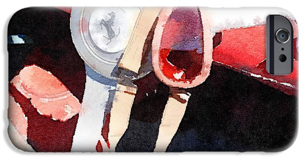 Old Cars iPhone Cases - Ferrari Steering Wheel Watercolor iPhone Case by Naxart Studio