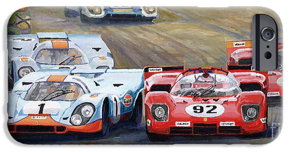 Racing Paintings iPhone Cases - Ferrari vs Porsche 1970 Watkins Glen 6 Hours iPhone Case by Yuriy  Shevchuk