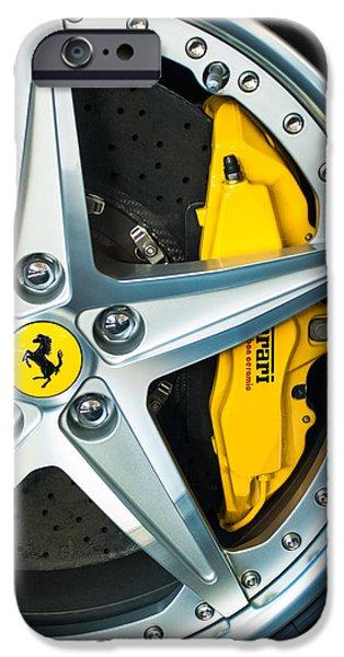 Emblem iPhone Cases - Ferrari Wheel 3 iPhone Case by Jill Reger