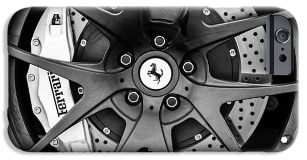 Sports Cars Images iPhone Cases - Ferrari Wheel Emblem - Brake Emblem -0430bw iPhone Case by Jill Reger