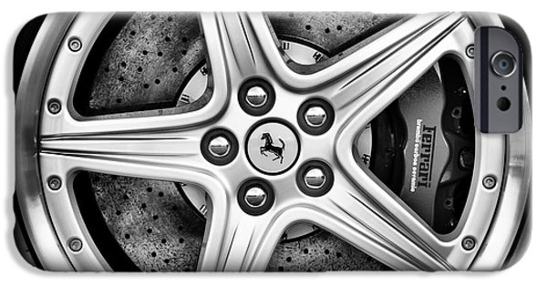 Disc iPhone Cases - Ferrari Wheel Monochrome iPhone Case by Tim Gainey