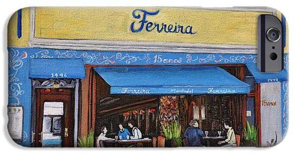 Montreal Restaurants Paintings iPhone Cases - Ferreira Cafe  iPhone Case by Reb Frost