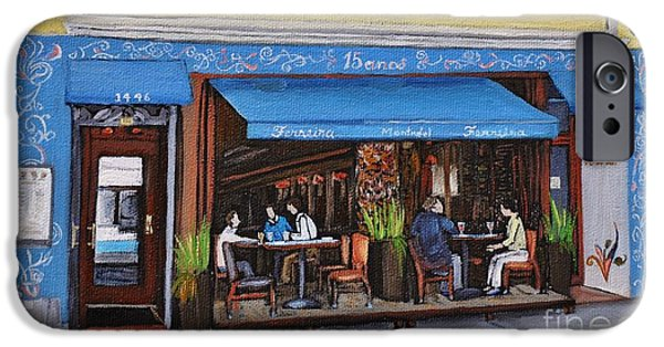 Montreal Restaurants iPhone Cases - Ferreira Cafe  iPhone Case by Reb Frost