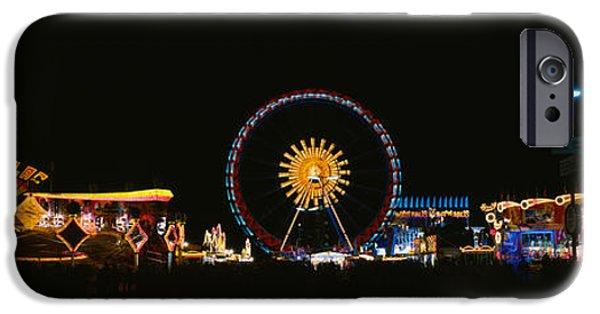Oktoberfest iPhone Cases - Ferris Wheel And Neon Signs Lit iPhone Case by Panoramic Images