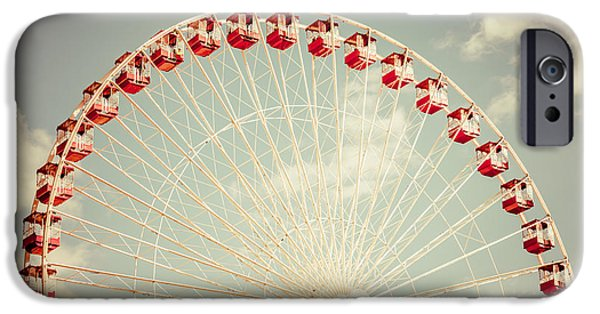Old Photos iPhone Cases - Ferris Wheel Chicago Navy Pier Vintage Photo iPhone Case by Paul Velgos